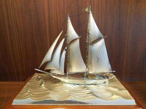 銀製置物STERLING SILVER 2本マストヨット
