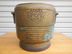 古民具 金属製火鉢 直径25cm